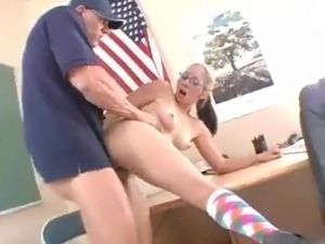 Sexy in glasses nailed hard by her pe TeaCher