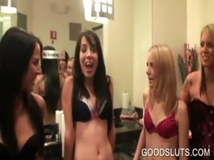 Sluts dancing in lingerie at orgy